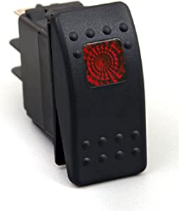 Daystar, Universal Rocker Switch with Red Light, 20 Amp, Single Pole, KU80014, Made in America