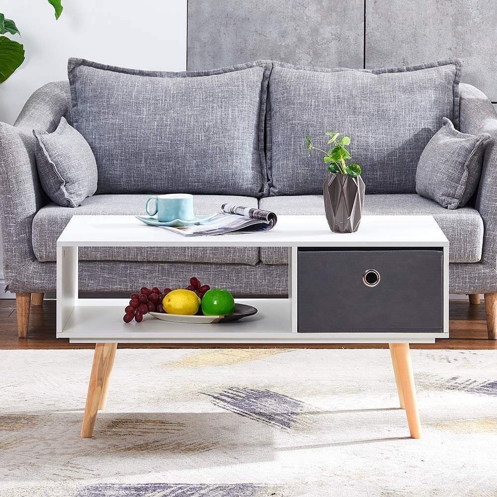 SCJS White Living Room Coffee Table with Drawers Modern Wooden Side Table Coffee Table 90 cm Rectangular with Fabric Cubes for The Waiting Area in The Home Office