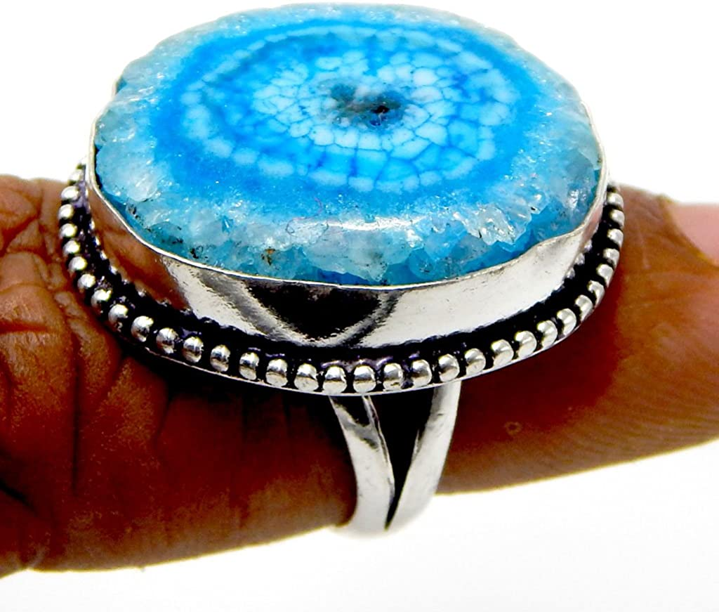 Solar Quartz 925 Sterling Silver Plated Handmade Jewelry Ring Us Size 7.5 AK1