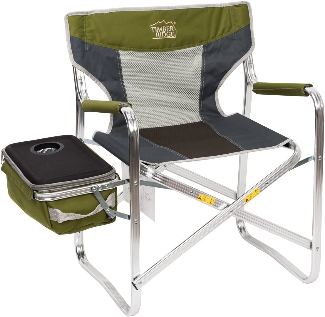 Timber Ridge Director s Chair Additional Cooler Bag Detachable Breathable Back Folding Lightweight for Camping Portable Supports 300lbs