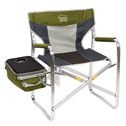 Timber Ridge Directoru0027s Chair Additional Cooler Bag Detachable Breathable  Back Folding Lightweight For Camping Portable Supports