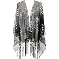 L'vow Women's Gatsby 1920s Scarf Glitter Mesh Sequin Wedding Cape Shawl Fringed Evening Wrap