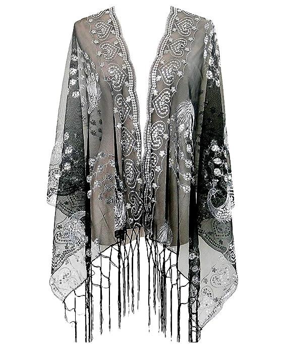 Grouptap Ann/ées 1920 Gatsby ch/âle bol/éro Paillette Cape Haussement d/épaules pour Femmes Noires Dames clapet Art d/éco Robe Vintage Costume
