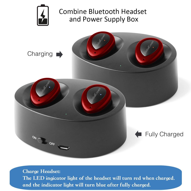 GlobalCrown Auriculares inalámbricos Bluetooth inalámbricos, TWS K2 mini gemelos estéreo Bluetooth auriculares inalámbricos invisibles con funda de carga ...