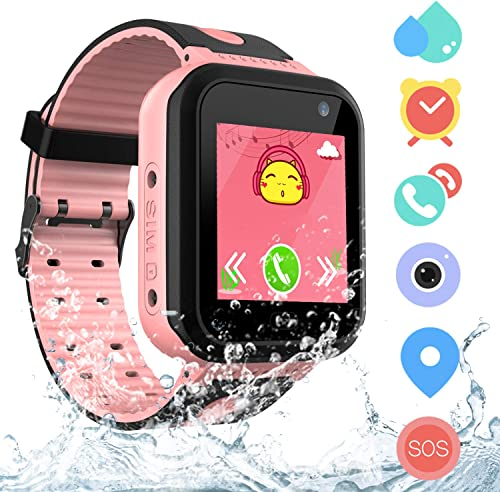 Kids Waterproof Smart Watch Phone for Students, Girls Boys Touch Screen Smartwatch with AGPS LBS Tracker Voice Chat SOS Camera Flashlightfor Alarm Clock, Children s Gift Back to School S7 Pink