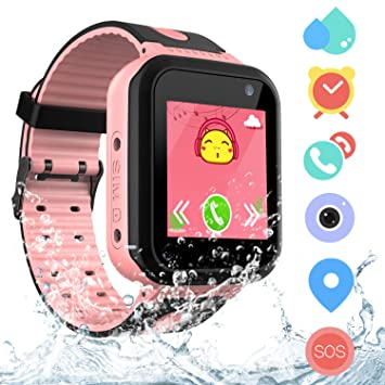 Kids Waterproof Smart Watch Phone for Students, Girls Boys Touch Screen Smartwatch with AGPS & LBS Tracker Voice Chat SOS Camera Flashlightfor Alarm ...
