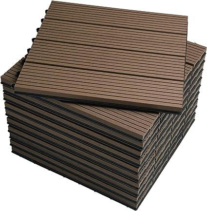 WOLTU Suelo de WPC Set de 11 Baldosas de Madera Exterior para Porche Patios Jardin, 30 x 30 cm Compuesta Azulejos para Terraza Marrón: Amazon.es: Oficina y papelería
