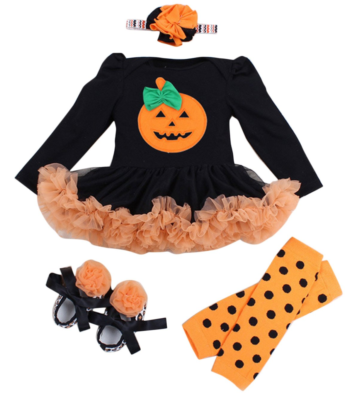 4PCs Baby Girls Halloween Pumpkin Princess Outfit Tutu Dress Happy Cherry