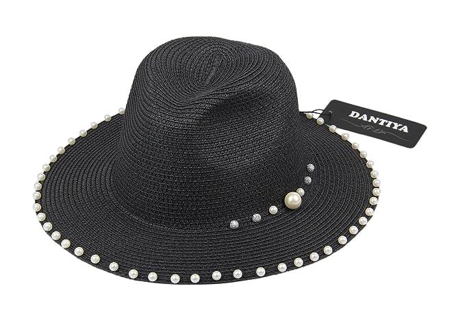Dantiya-moda donna cappello da sole elegante con poco perline (nero ... f959930a2ea6