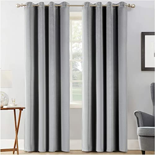 Best window curtain panel: Calimodo Gray Velvet Curtains 108 Inch Length