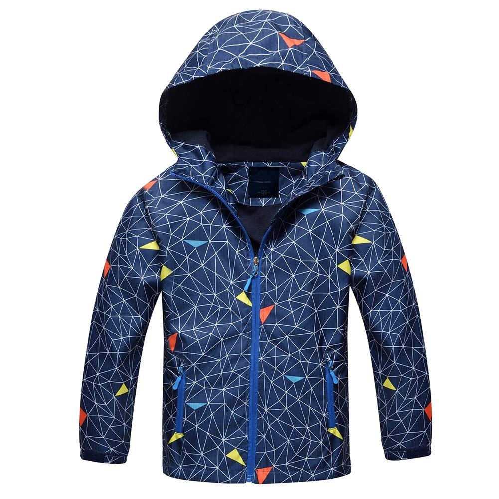 Jingle Bongala Boys Girls Rain Jackets Outdoor Light Waterproof Jackets with Fleece Hooded Coat-Navy Spider-130
