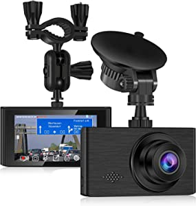 Dash Cam for Cars 1296P FHD Dash Camera Super Night Vision 3 Inch Touch Screen with Rearview Mirror Mount Suction Cup Mount Built-in G-Sensor Looping Record