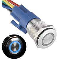 APIELE 16mm Latching Push Button Switch 12V DC On Off Stainless Steel with LED Angel Eye Head for 0.63″ Mounting Hole with Wire Socket Plug Self-Locking(Blue)