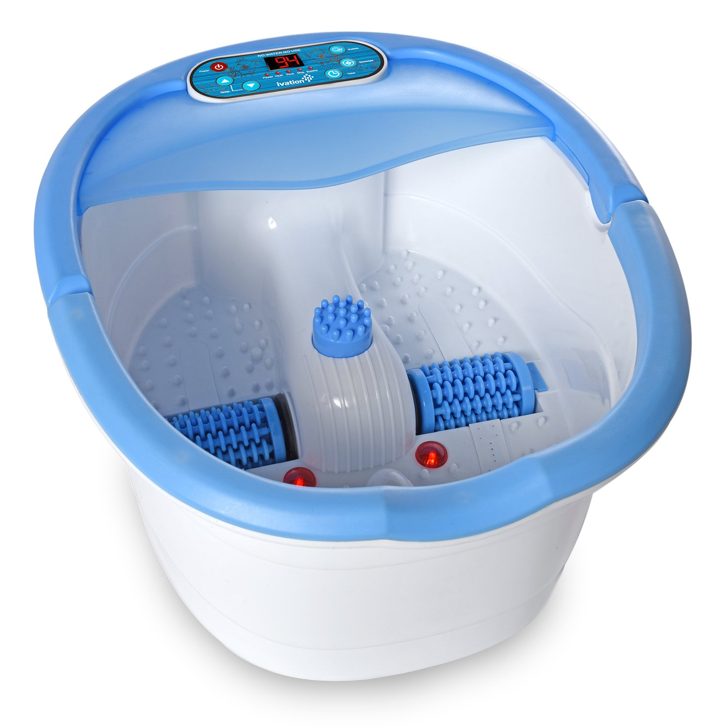 Ivation Multifunction Foot Spa - Heated Bath with Vibration, Rollers, Bubble Massage & Aromatherapy - Digital Temperature Control LED Display - Includes 3 Pedicure Attachments IVAFTSPA