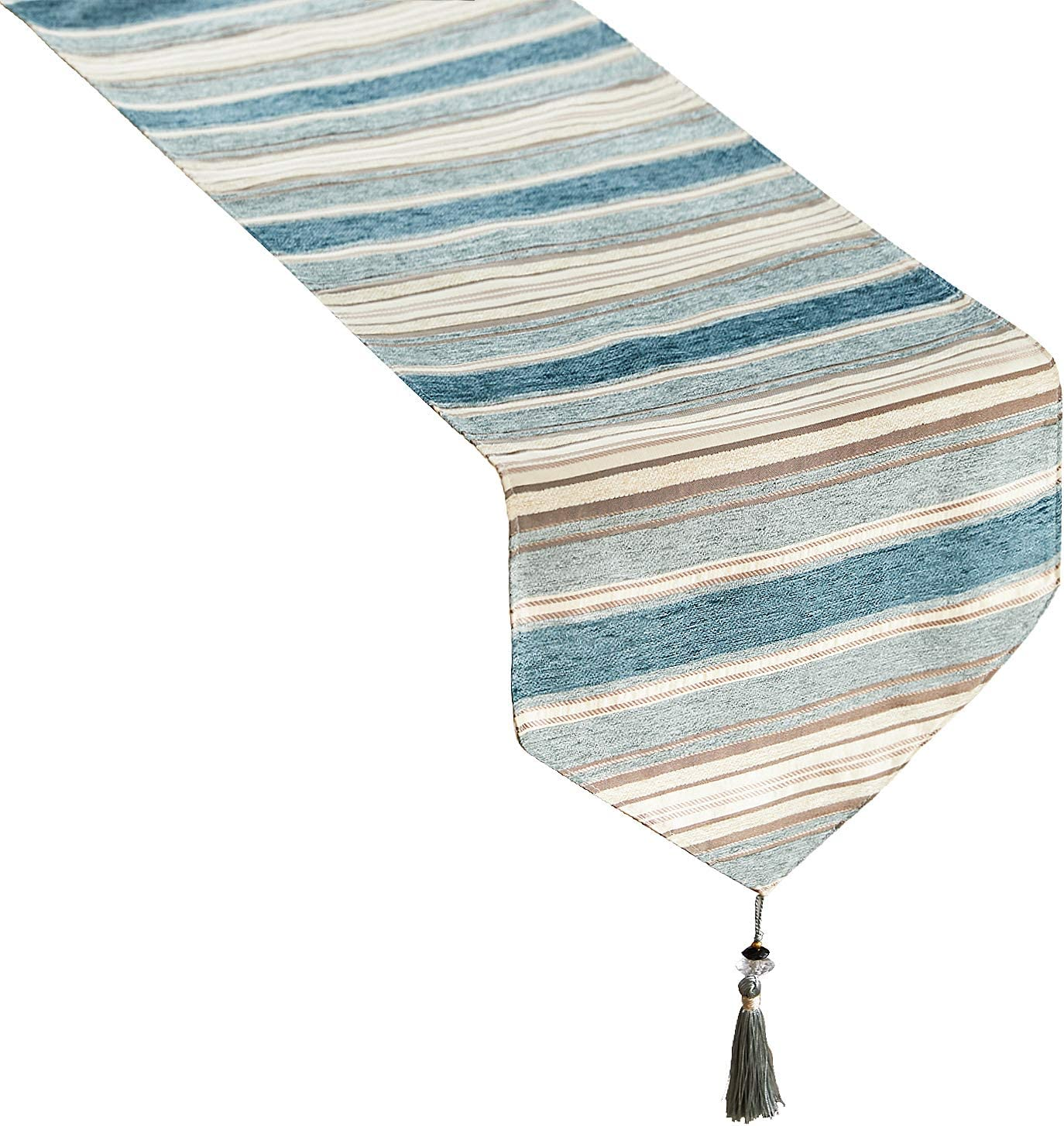 Top Finel Dining Table Runner 48 Inches, Washable Cotton Linen Coffee Table Runners with Tassels for Wedding Party Holiday Decorations, Teal