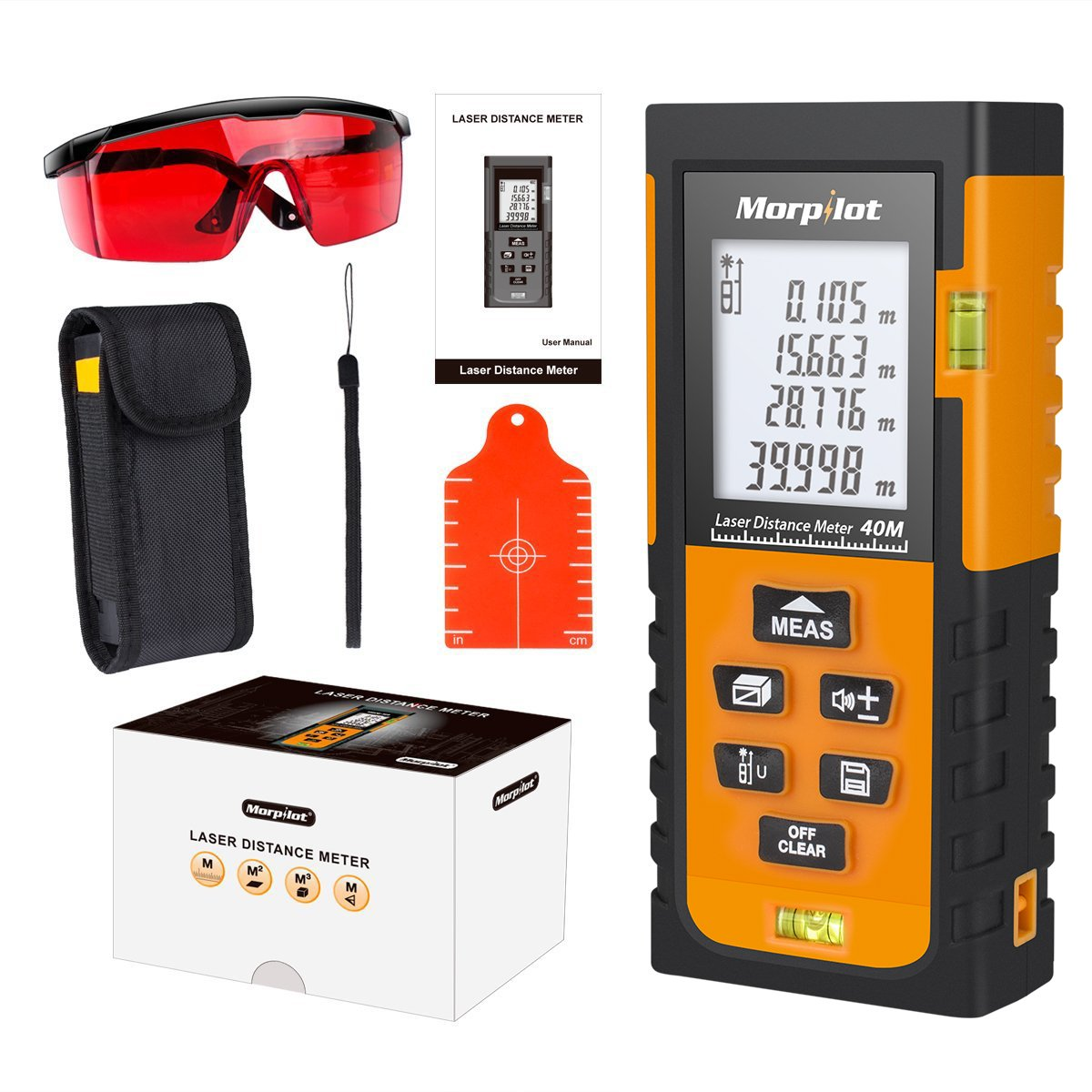 Laser Distance Meter,Morpilot 40M Laser Measure with Target Plate & Enhancing Glasses,Laser Measuring Device with Pythagorean Mode, Measure Distance, Area, Volume Calculation - Black & Orange