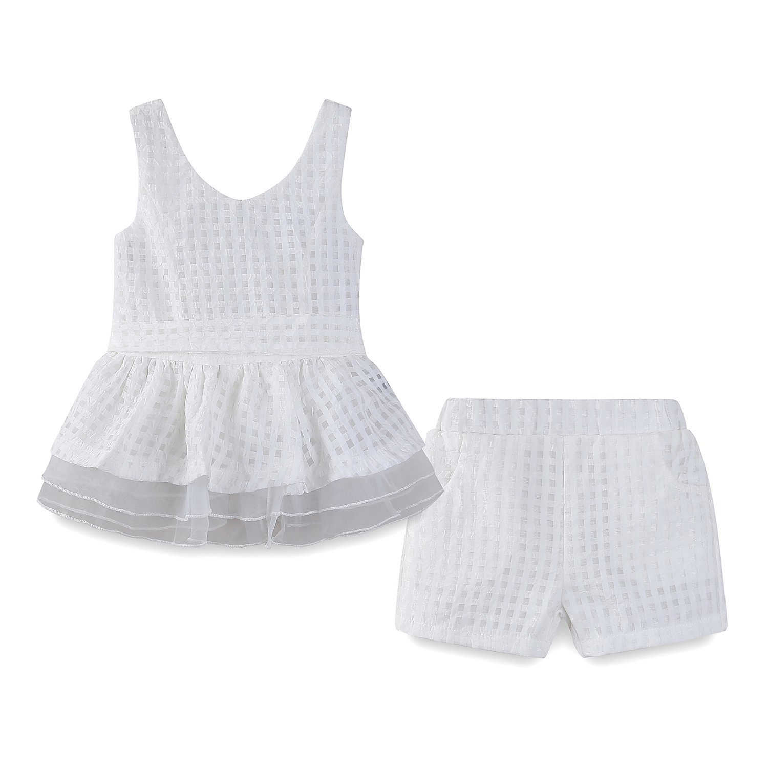 mud kingdom Little Girls Short Sets Summer Chiffon Tank Tops and Shorts Outfits Size 5 White