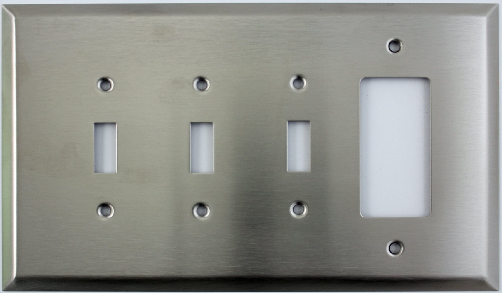 Over Sized Jumbo Satin Stainless Steel 4 Gang Switch Plate - 3 Toggle Light Switch 1 GFI Outlet/Rocker
