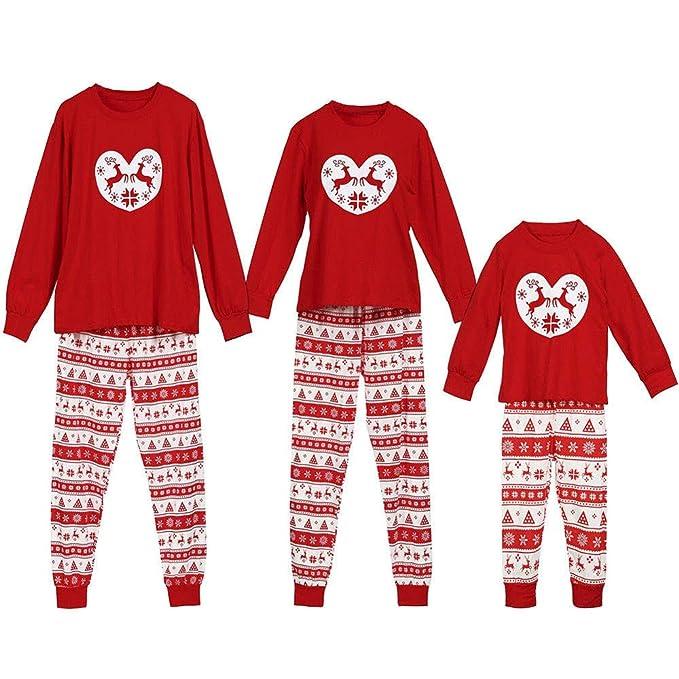 7dad38aa6 POLP Niño Navidad Familia Conjunto Pantalon y Top Fiesta Pantalones de  Pijama de Ciervo de Navidad