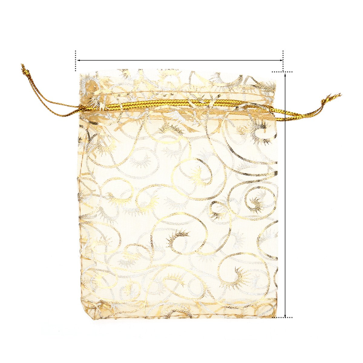Rosenice Lot de 100/sachets en toile et organdi Dor/é 9/x 12/cm