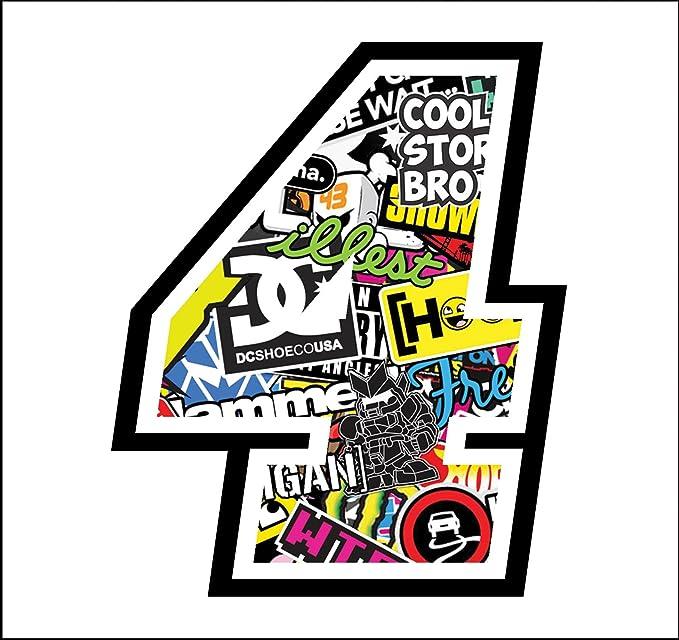 Stickers Sticker Bomb Cross Race Track Car Motorbike Stickers Race Number 4 12 Cm Auto