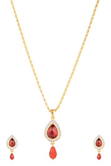 Buy estelle gold red color big ruby stone drop pendant ear rings estelle gold red color big ruby stone drop pendant ear rings jewellery setssimple aloadofball Images