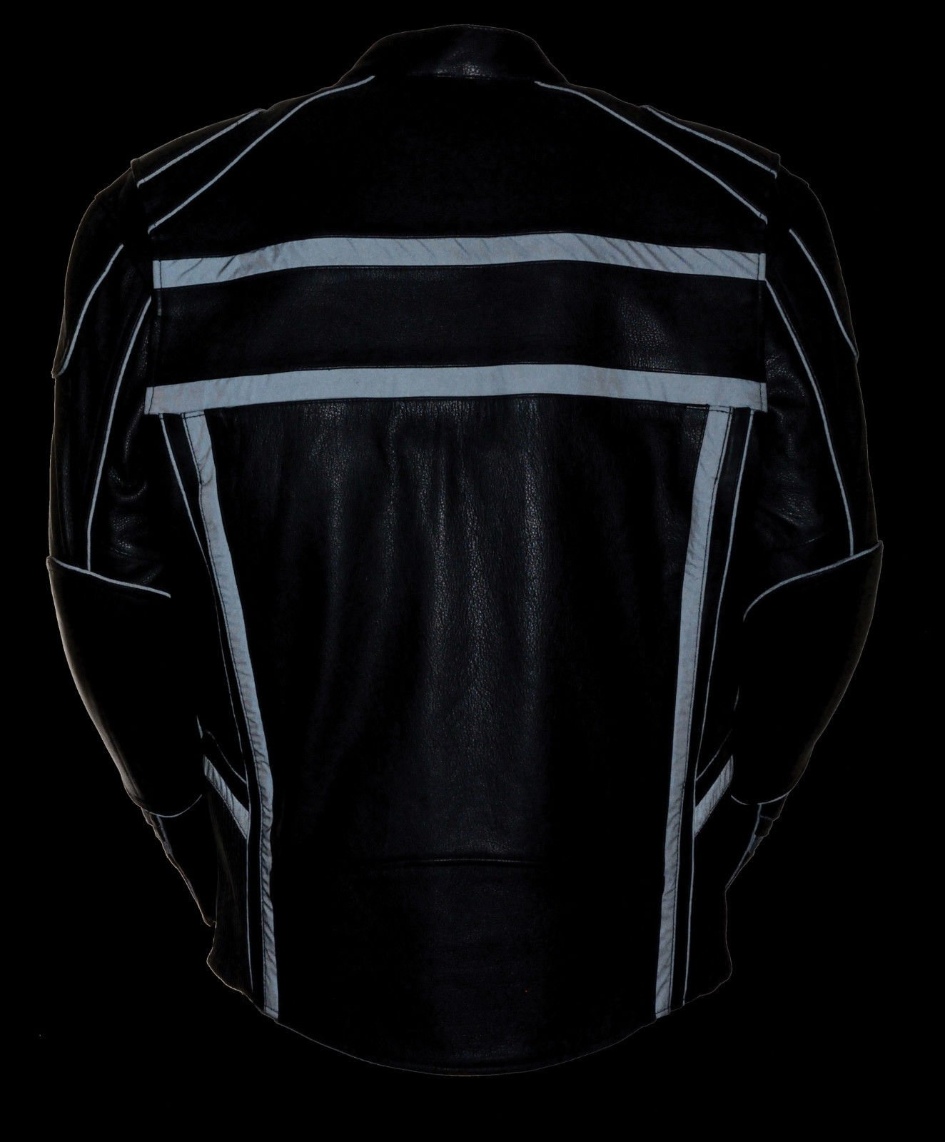 MEN'S MOTORCYCLE REFLECTIVE STRIPE SCOOTER COW LEATHER VENTS JACKET SIDE STRETCH (2XL Regular) by Milwaukee (Image #5)