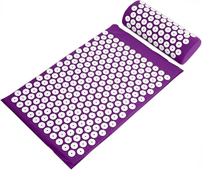Amazon.com: BalanceFrom Acupressure Mat and Pillow Set for Back and Neck Pain Relief and Muscle Relaxation Massage (Purple): Sports & Outdoors