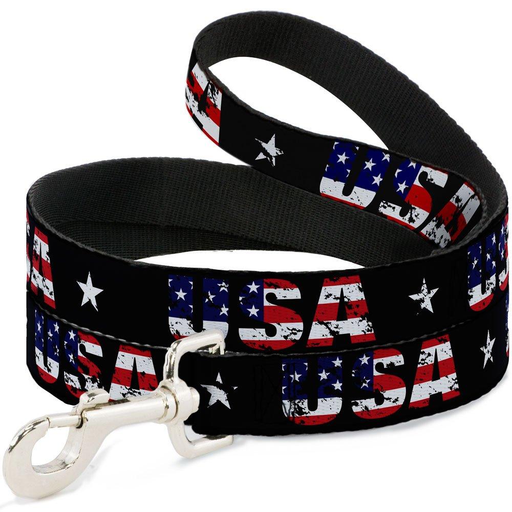 6 Feet Long 1\ Buckle-Down USA with Star Black US Flags  Dog Leash, 6'