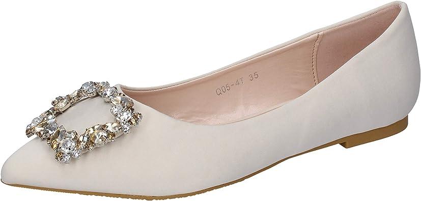 Tipo delantero Propio pacífico  FRANCESCO MILANO Bailarinas Mujer satén Beige: Amazon.es: Zapatos y  complementos