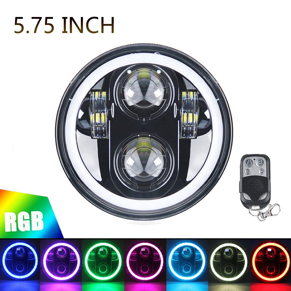 5.75'' RGB HALO Headlight, ROCCS LED Black Motorcycle 5 3/4'' Headlamp with White DRL Multicolor Angel Eyes fit Harley Davidson Dyna Sportster 883 72 48, 1PC