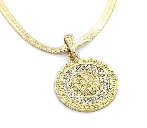 4bfb5afac92fe Mens Medallion Pattern Lion Gold Tone 4mm 24