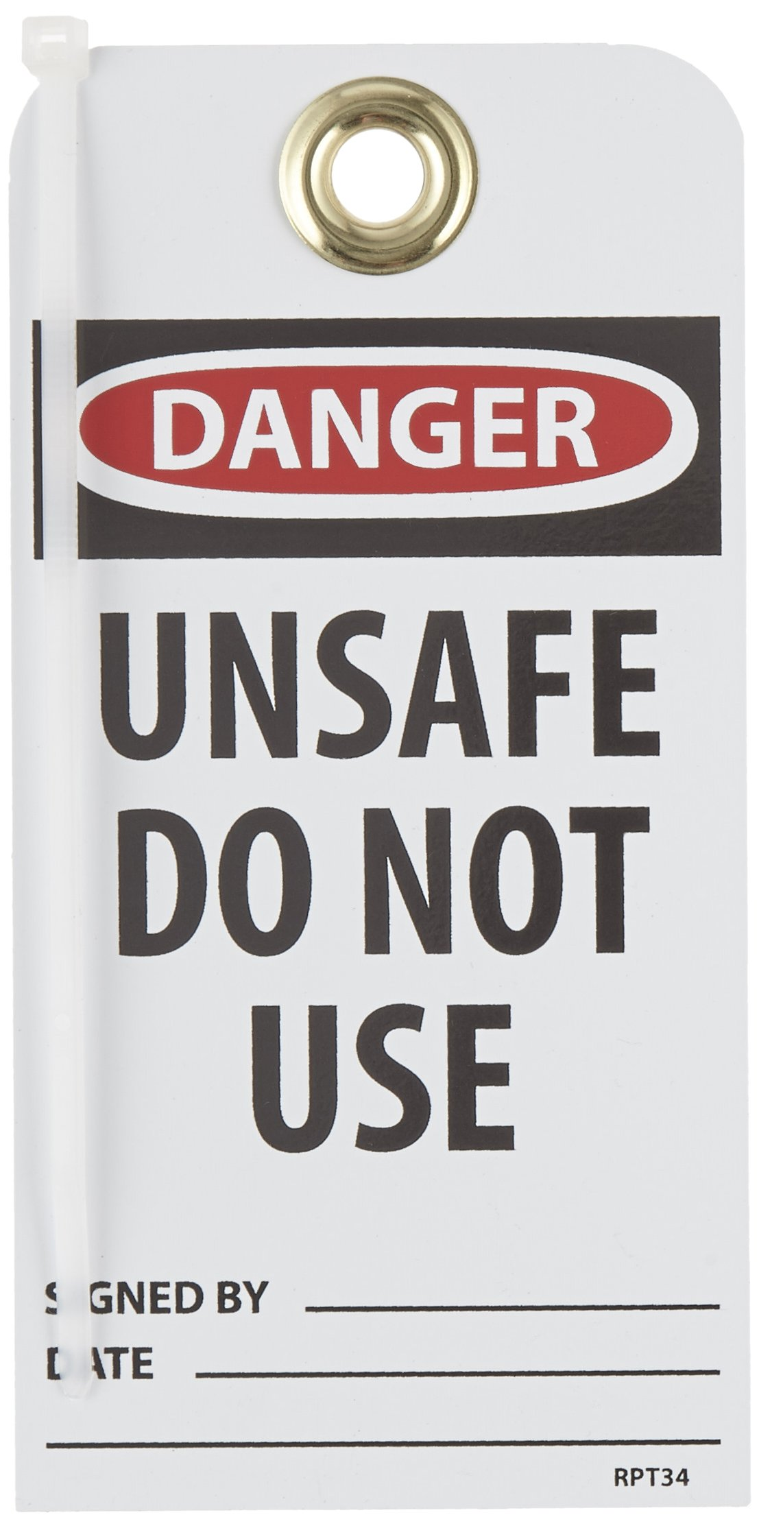 NMC RPT34G''DNAGER - UNSAFE DO NOT USE'' Accident Prevention Tag with Brass Grommet, Unrippable Vinyl, 3'' Length, 6'' Height, Black/Red on White (Pack of 25)