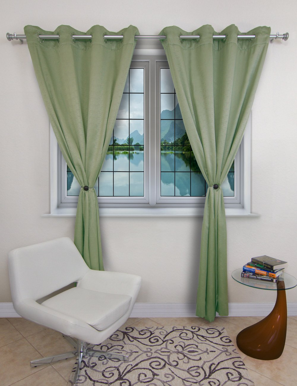 Curtain Tiebacks or Holdbacks, Curtain Clips - Magnetic Wood Buckle, MagnaClips Set of 2, Quadra (Chocolate)
