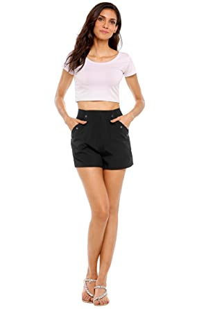 3c24fa3523bf Zeagoo Women's High Rise Cotton Chino Short Solid Casual Twill ...