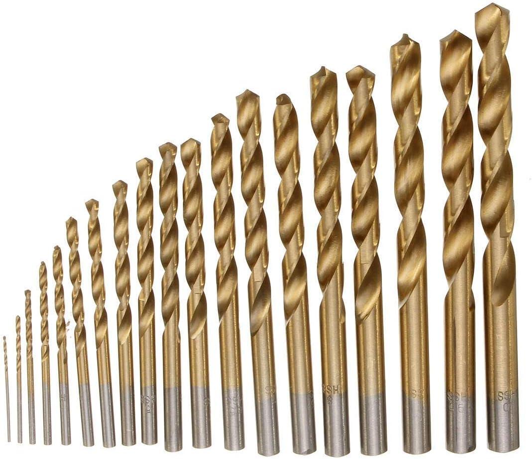 SDY-SDY Drill 19pcs1-10mm HSS Titanium Coated Twist Drill Bit Set Straight Shank Twist Drill for Metal Wood Drilling Drill Accessories Drill