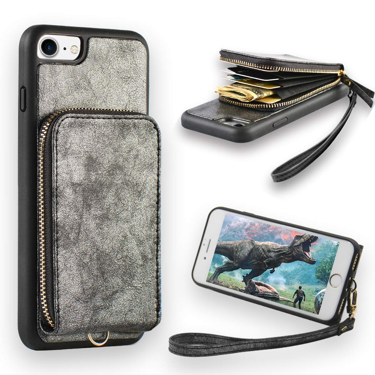 promo code 2a4f1 4b7a2 iPhone 8 Zipper Wallet Case, JLFCH iPhone 7 Wallet Case Leather Purse  Handbag Case with Lanyard Card Holder Wrist Strap Zipper Closure Back  Protective ...