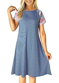 3247eb814 Uideazone Women Striped Floral Short Sleeve T-Shirt Dress Loose A-Line Dress  Knee
