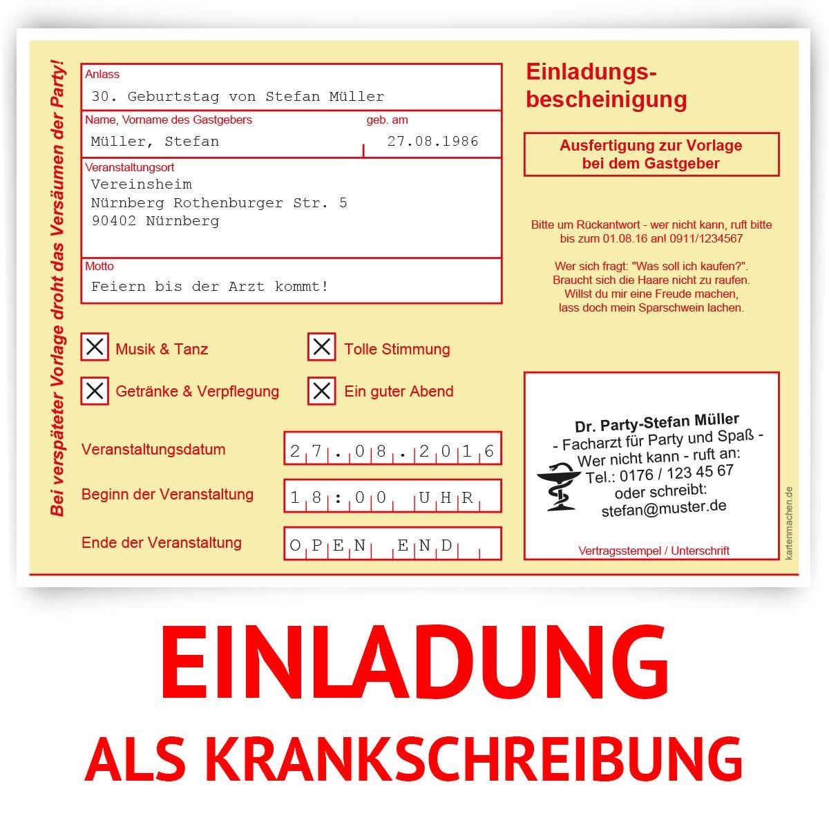 Einladungskarten zum Geburtstag (30 Stück) als Krankschreibung ...
