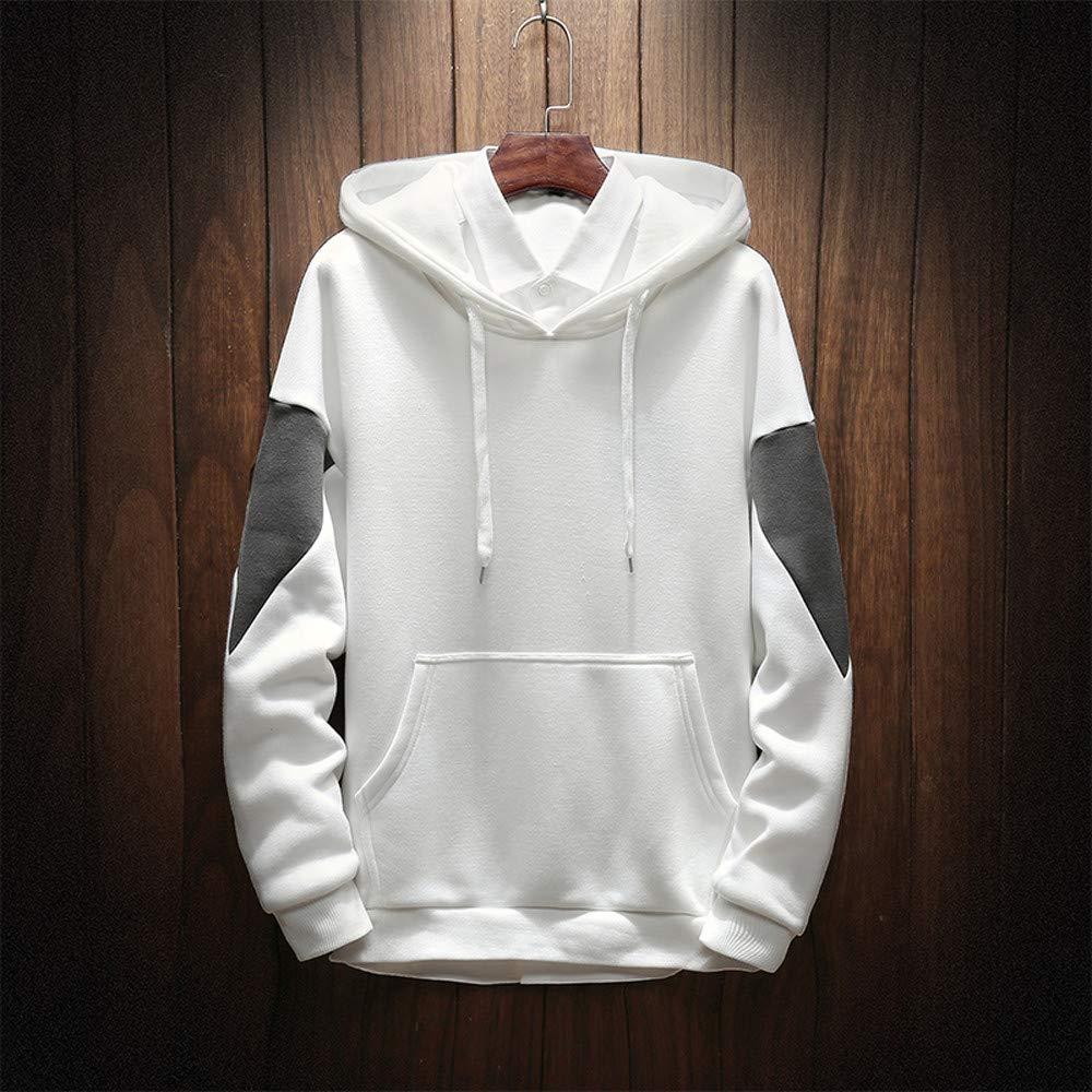 Mens Sweatshirt,Mens Pure Color Splicing Pullover Long Sleeve Hooded Sweatshirt Tops Blouse
