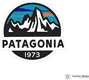 Monte Fritz Roy Oval Patagonia Mountain 1973 clr 4x4 Size inches Lunch Box Bumper USA Sticker Love Baby Laptop car Window Truck Adventure Outdoors - Made and Shipped in USA