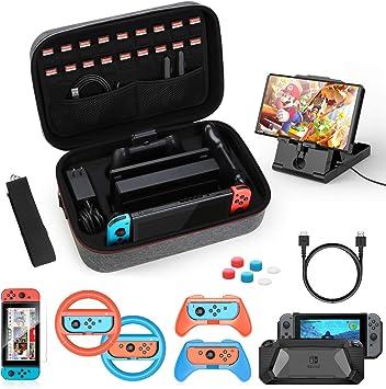 HEYSTOP Kit de Accesorios 12 en 1 para Nintendo Switch, con Funda de Transporte, TPU Cubierta Protectora, Joy-con Grip y Volante, Soporte,Protector de Pantalla, Apretones de Pulgar, Cable USB (Gris): Amazon.es: Electrónica