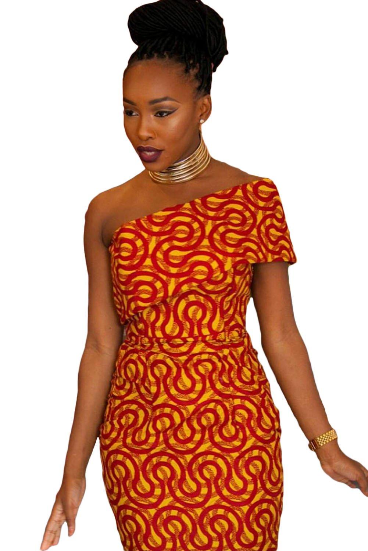 Ladies Orange Single Shoulder African Print Mermaid Dress Summer Dress  Jersey Long Party Dress Size S UK 8-10 EU 36-38: Amazon.co.uk: DIY & Tools
