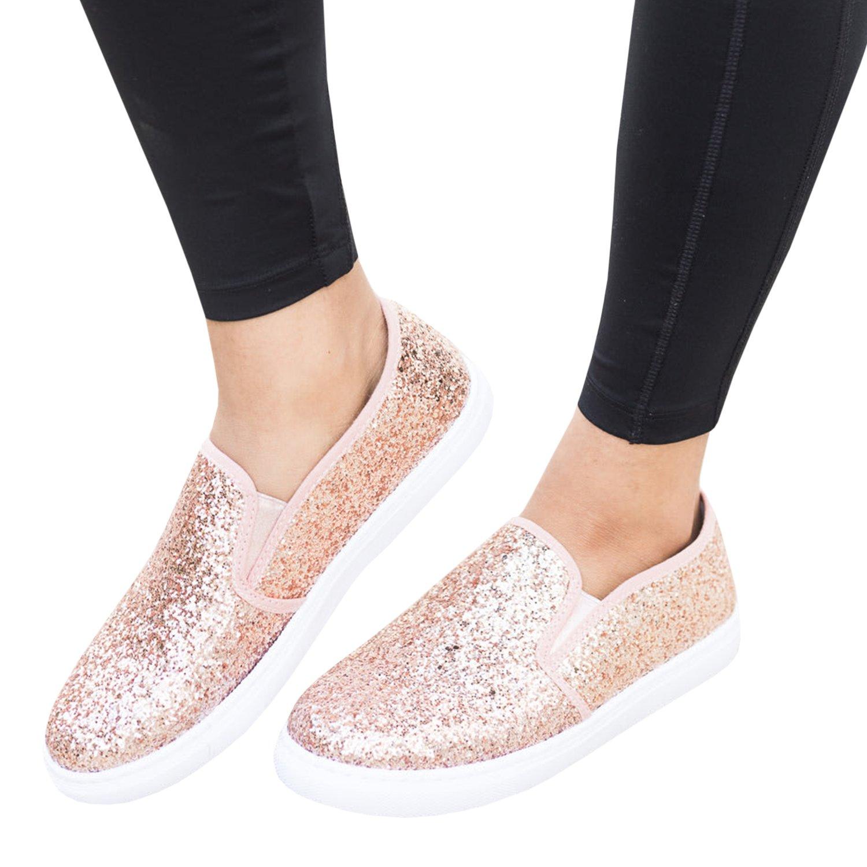 Amazon.com: Zapatillas de mujer con purpurina deslizante en ...