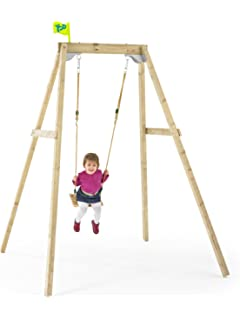 Wooden Swing Frame Forest Double Amazon Co Uk Toys Games