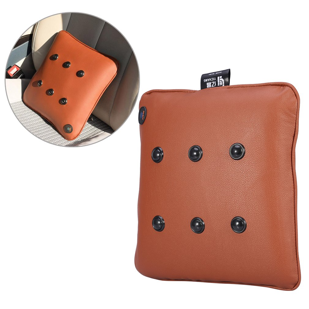 Electric Massage Pillow, USB Rechargeable Soft Cotton Neck Back Cushion Massager for Travel Car Home, CE/FDA/RoHS/LVD Attestation (PU Brown)