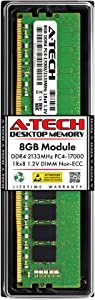 A-Tech 8GB DDR4 2133MHz DIMM PC4-17000 UDIMM Non-ECC 1Rx8 1.2V CL15 288-Pin Desktop Computer RAM Memory Upgrade Module