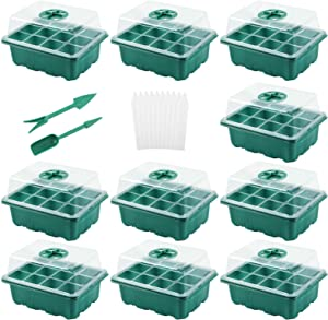 10 Pack Seed Trays Seedling Starter Tray, Humidity Adjustable Plant Starter Kit with Dome and Base Greenhouse Grow Trays Mini Propagator for Seeds Growing Starting (12 Cells per Tray)