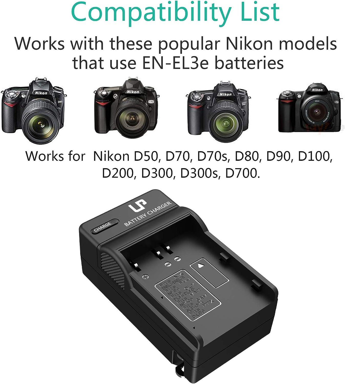 LP EN-EL3e Battery Charger for Nikon EN EL3e, EL3, EL3a Battery, Compatible with Nikon D700, D300s, D300, D200, D100, D90, D80, D70s, D70, D50 & More, ...