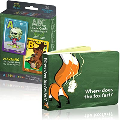He's All Boy Toddler Learning to Read Bundle #1 Includes Alpha Cards ABC Flash Cards and Where Does The Fox Fart? Board Book: Toys & Games